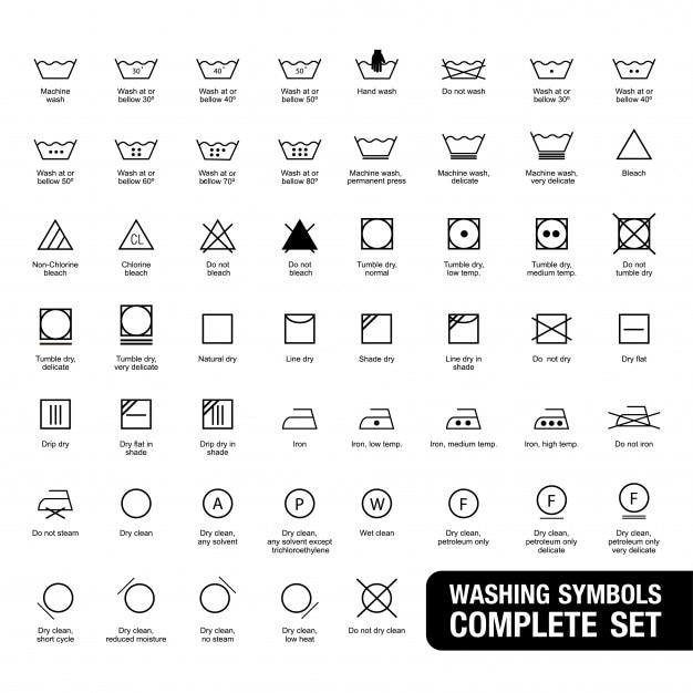Complete Set Of Laundry Symbols Vector Premium Download