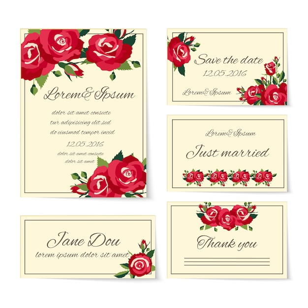 Полный набор шаблонов свадебных открыток, покрывающих пригласительные билеты, спасибо молодожёнам, имя, место и дата, украшенные элегантными красными розами, символизирующими любовь и романтику Бесплатные векторы