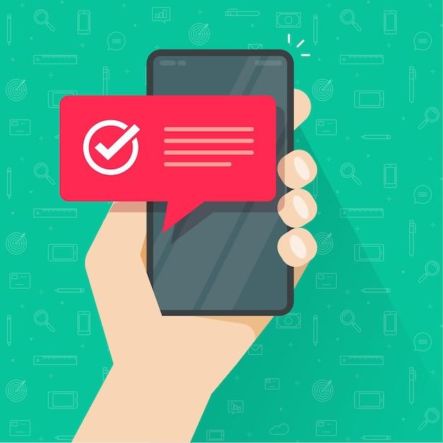 完全な成功スマート携帯電話のチェックマークまたはチェックマークの通知通知とテキスト Premiumベクター
