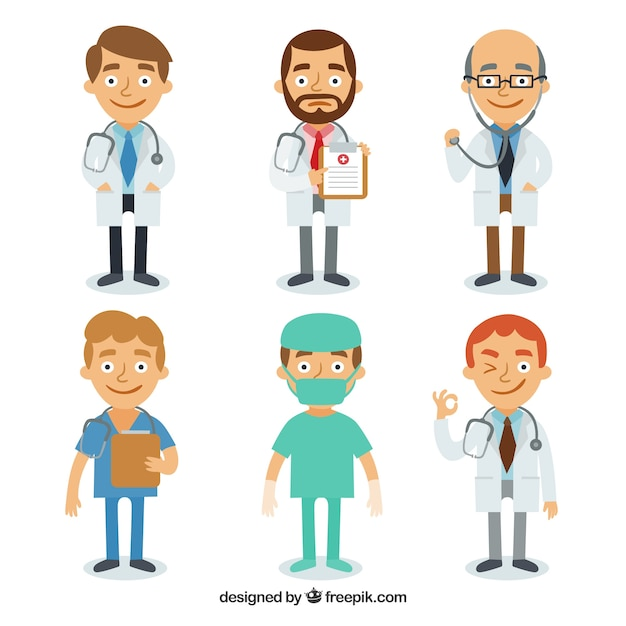 Complete variety of smiley doctors Free Vector