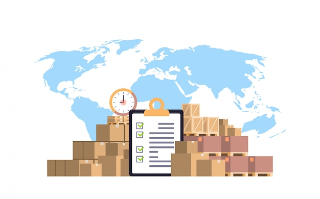 Completed checklist clipboard parcel packages paper box blue world map, international delivery industrial concept flat horizontal Premium Vector