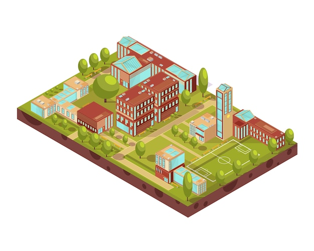 Complex of modern university buildings isometric layout with football field green trees walkways and benches vector illustration Free Vector