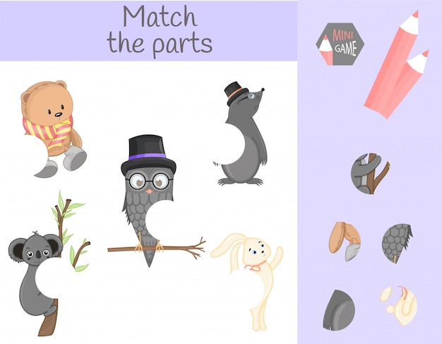 Compliance with children's educational game. match animal parts. find the missing puzzles Premium Vector