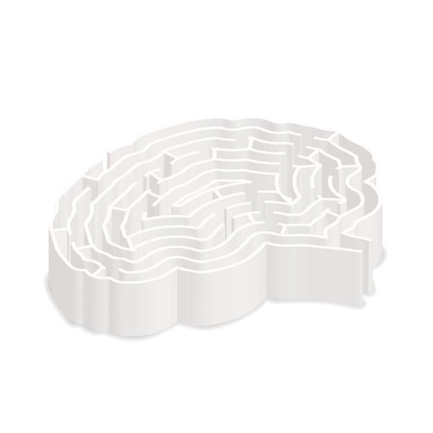 Сложный серый лабиринт в форме мозга в изометрической проекции, изолированные на белом Premium векторы