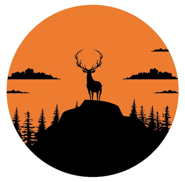 Composition of a circle an with elk staying on the top of the mountain Free Vector