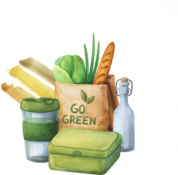 Composition of environmentally friendly, healthy food. the concept of zero waste. Premium Vector