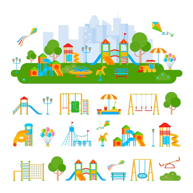 Composition of flat playground scenery Free Vector
