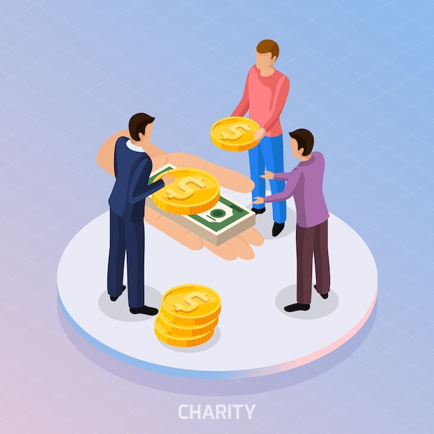 Composition of fundraiser characters and human hand with coins and banknotes Free Vector