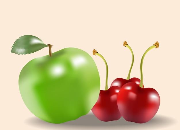 Composizione di mela verde e ciliegie su sfondo beige. frutti sani Vettore gratuito
