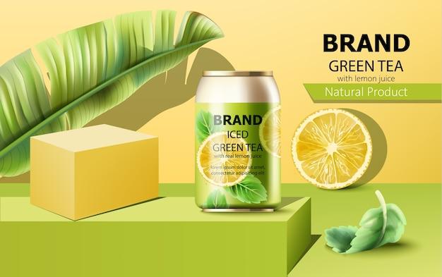 アイスグリーンティーの缶の組成 無料ベクター