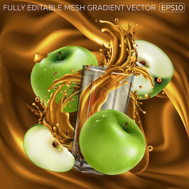 フルーツジュースの動的なスプラッシュでガラスを囲む青リンゴの組成。 Premiumベクター