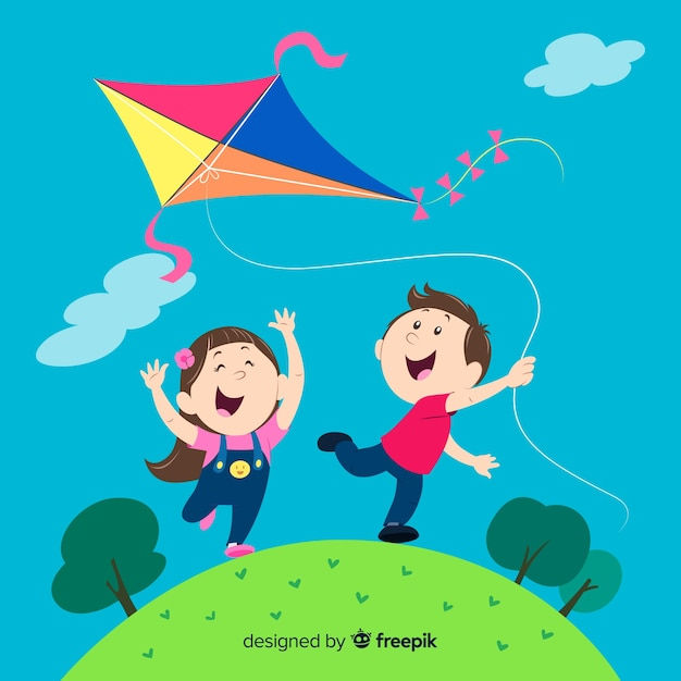 Composition of kids flying a paper kite Free Vector