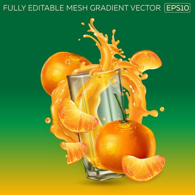 フルーツジュースの動的なスプラッシュでガラスを囲むみかんの組成。 Premiumベクター