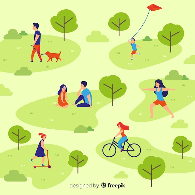 Composition of people doing outdoors activities Free Vector