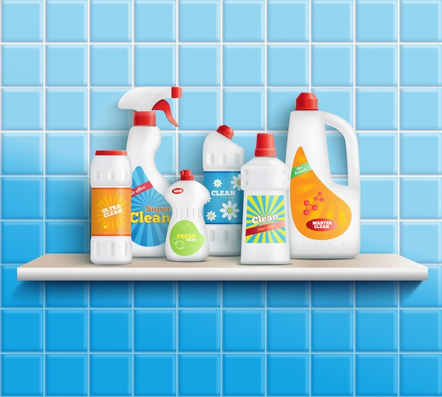 Composition of realistic detergent bottles on shelf with bathroom toilet and mirror cleaners with wall tiles vector illustration Free Vector