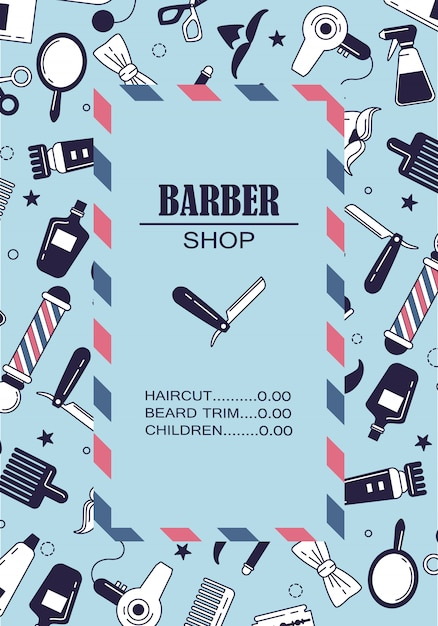 Composition of the set of icons for the barber shop. Free Vector