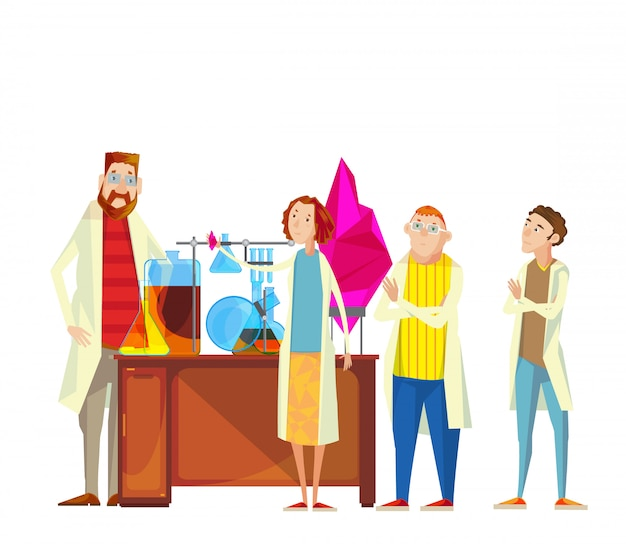 Composition of teacher and students cartoon characters in the chemical laboratory carrying out resea Free Vector