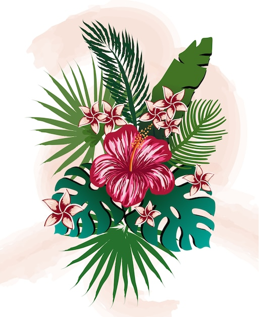 Composition of tropical flowers and leaves. hibiscus, frangipani, palm and monstera Free Vector