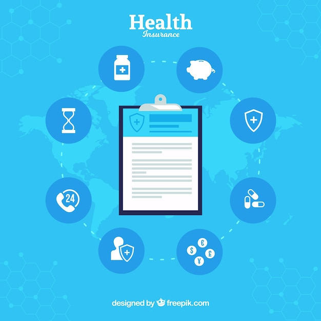 Composition with clipboard and health insurance icons Free Vector