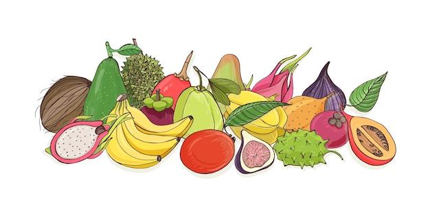 Композиция из вкусных спелых сочных тропических фруктов Premium векторы