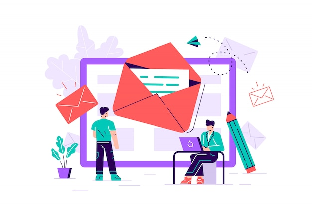 Premium Vector | Composition with giant tablet pc, letter in envelope on  screen, group of working people or team of marketers. email marketing,  internet advertisement, online promotion. flat vector illustration.