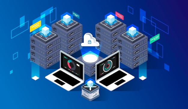 Computation of big data center, information processing, database. internet traffic routing, server room rack isometric vector technology. Premium Vector