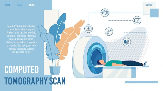 Computed tomography scan service landing page Premium Vector