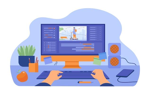 Компьютер и монитор графического аниматора, создающего видеоигру, моделирующего движение, обрабатывая видеофайл с помощью профессионального редактора. векторные иллюстрации для графического дизайна, искусства, концепции дизайнерского рабочего места Бесплатные векторы
