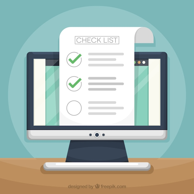 Computer background with checklist Free Vector