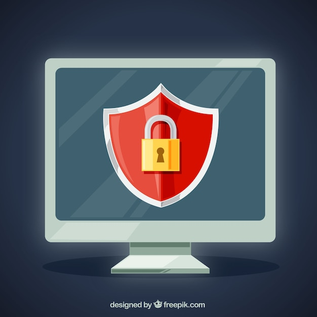 Computer background with padlock Free Vector