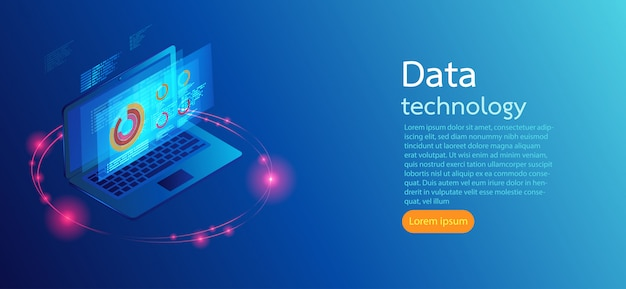 Computer on blue background screens modern infographic. Premium Vector
