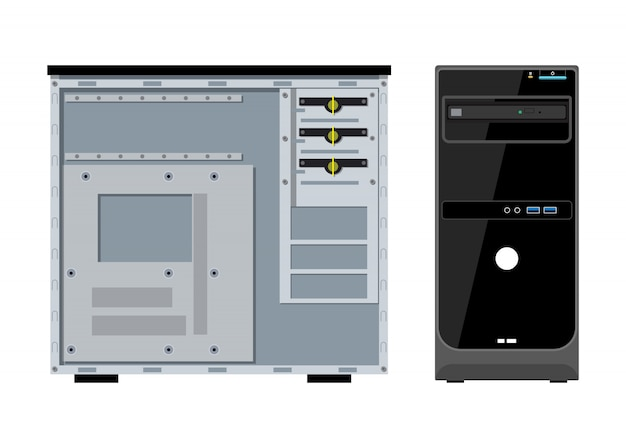 Computer case front and side view Premium Vector
