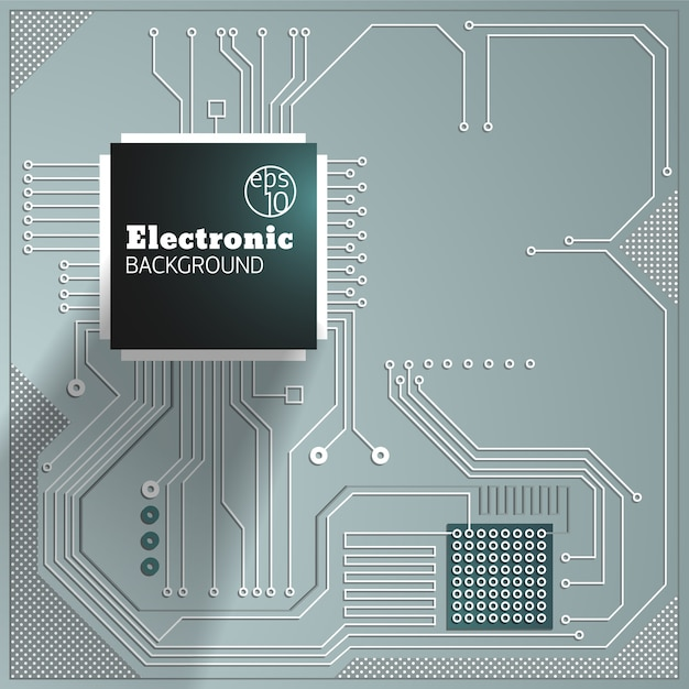 Computer circuit on grey background  illustration Free Vector