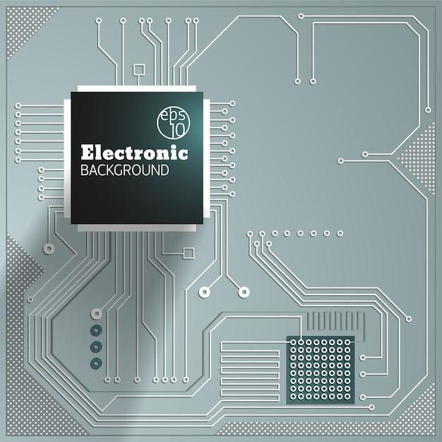 Circuito di computer su sfondo grigio illustrazione Vettore gratuito