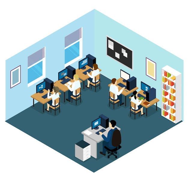 Computer class isometric layout Free Vector