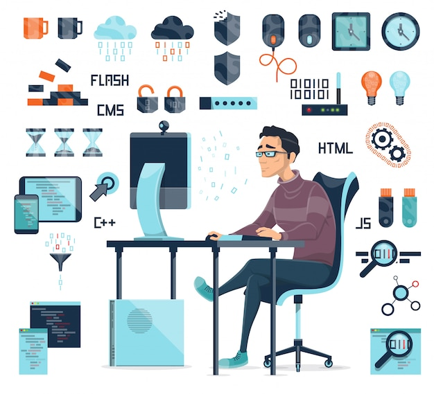 Computer coding icons set Free Vector