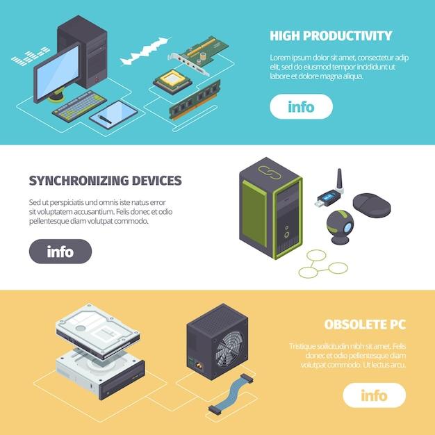 Компьютерные компоненты и гаджеты изометрические горизонтальный баннер. Premium векторы