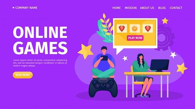 Онлайн-консоль компьютера, иллюстрация. играть с контроллером технологии джойстик концепции, геймер люди персонаж. Premium векторы