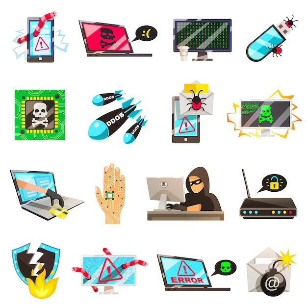 Computer criminal icons collection Free Vector