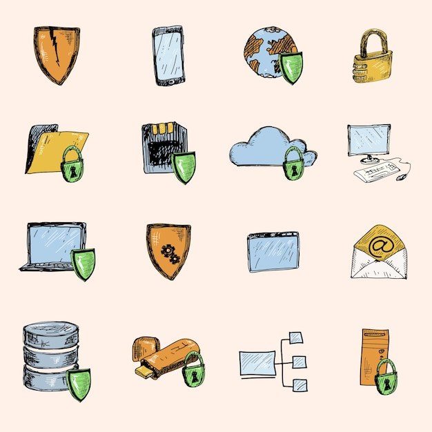 Computer data protection and secure information\ exchange sketch icons colored set isolated vector\ illustration