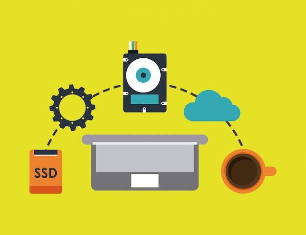 Computer design over green background vector illustration Premium Vector