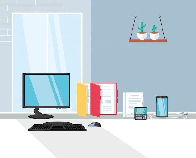 Computer desk with supplies office in the workplace Premium Vector