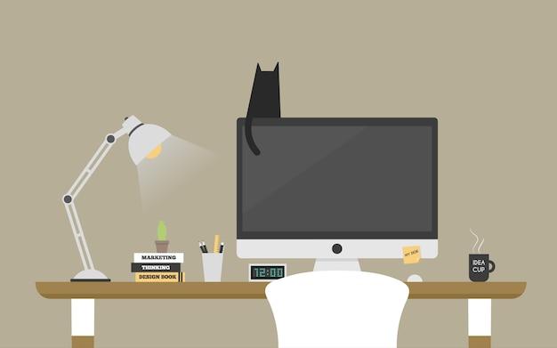 Computer desk workplace concept. Premium Vector