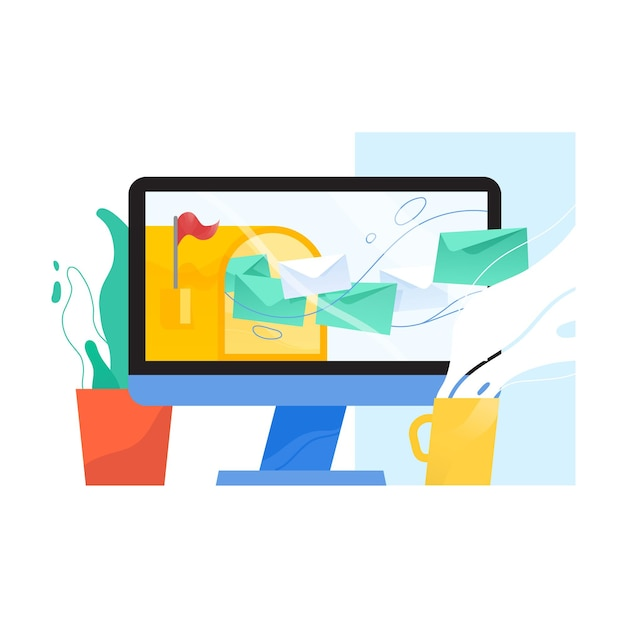 Computer display with opened mailbox and letters in envelopes flying out of it on screen, houseplant and mug. Premium Vector