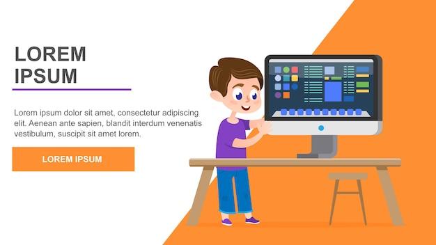 Computer education page Premium Vector