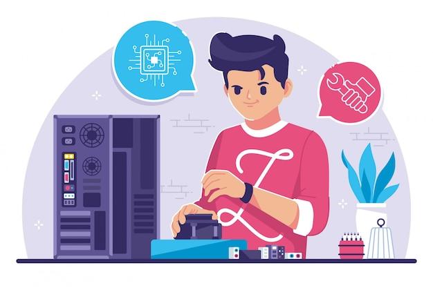 Computer engineer flat design illustration Premium Vector