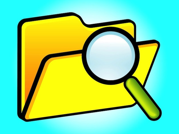 Computer Folder Search Icon Vector Vector