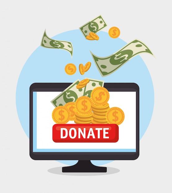 オンライン慈善寄付用のコンピューター 無料ベクター