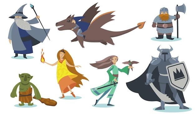 Набор персонажей мультфильма компьютерной игры. гигант, воин-викинг со щитом, орк, маг, эльф, гном, хоббит. изолированные векторные иллюстрации шаржа для онлайн-игры, фэнтези и сказки Бесплатные векторы