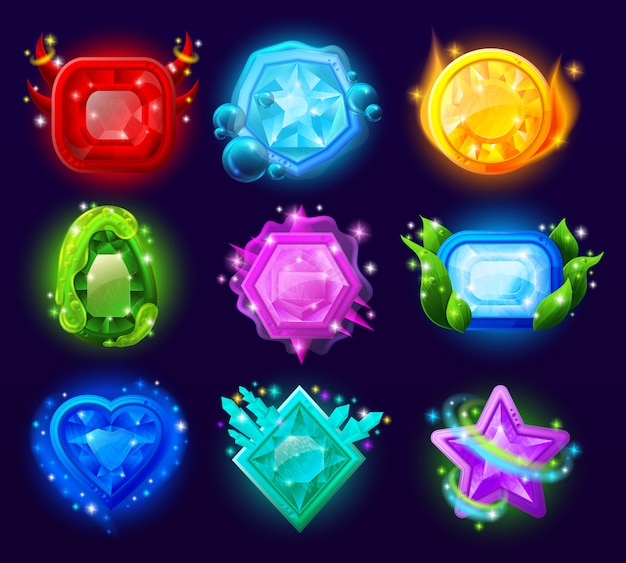 Gioco per computer set di gemme magiche Vettore gratuito